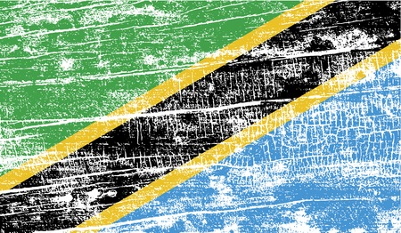 world war 2: Flag of Tanzania with old texture. Vector illustration