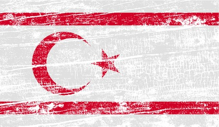 Flag of Turkish and Northern Cyprus with old texture. Vector illustration Illustration