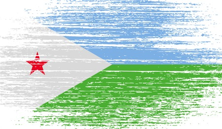djibouti: Flag of Djibouti with old texture. Vector illustration
