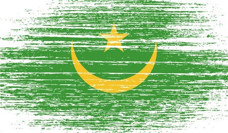 northwest africa: Flag of Mauritania with old texture. Vector illustration