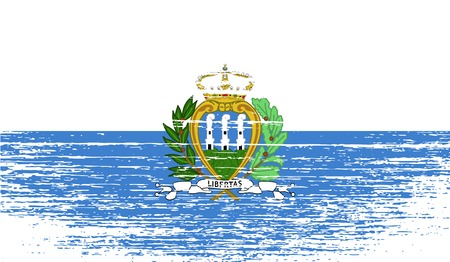 san marino: Flag of San Marino with old texture. Vector illustration
