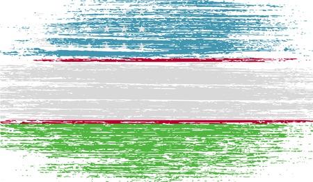 oezbekistan: Flag of Uzbekistan with old texture. Vector illustration