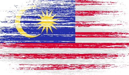 Flag of Malaysia with old texture. Vector illustration Çizim