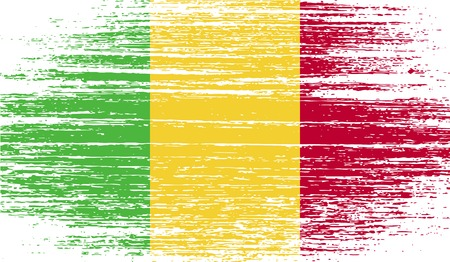 correctly: Flag of Mali with old texture. Vector illustration Illustration