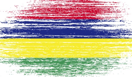 Flag of Mauritius with old texture. Vector illustration Illustration