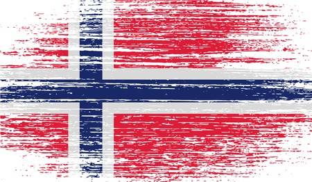 Flag of Norway with old texture. Vector illustration