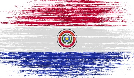 Flag of Paraguay with old texture. Vector illustration