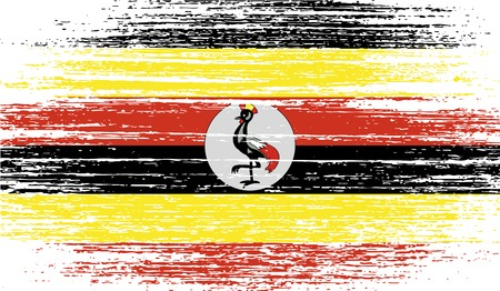 oeganda: Flag of Uganda with old texture. Vector illustration Stock Illustratie
