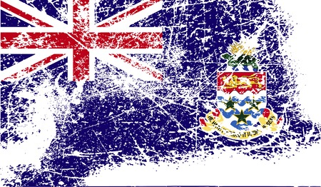 cayman: Flag of Cayman Islands with old texture. Vector illustration