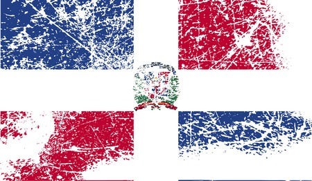 dominican: Flag of Dominican Republic with old texture. Vector illustration