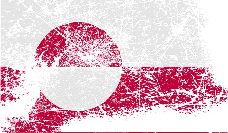 greenland: Flag of Greenland with old texture. Vector illustration Illustration