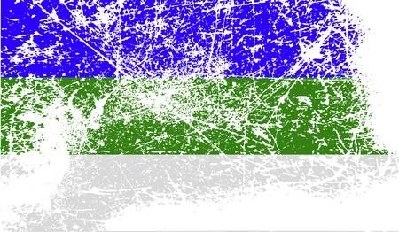 northwestern: Flag of Komi with old texture. Vector illustration Illustration