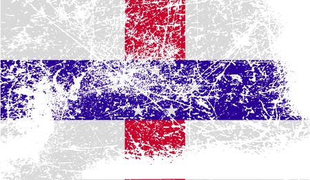 antilles: Flag of Netherlands Antilles with old texture. Vector illustration