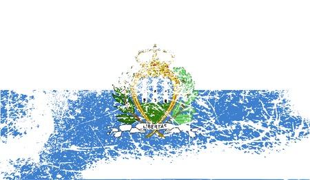 san marino: Flag of San Marino with old texture.