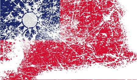 taiwanese: Flag of Taiwan with old texture. Vector illustration Illustration
