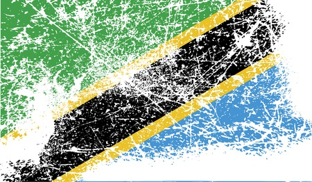 proportional: Flag of Tanzania with old texture. Vector illustration