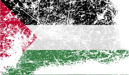 palestine: Flag of Palestine with old texture. Vector illustration