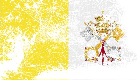 roman catholic: Flag of Vatican with old texture. Vector illustration