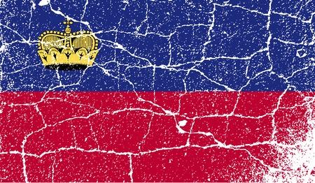 Flag of Liechtenstein with old texture. Vector illustration Illusztráció