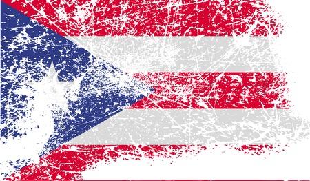 bandera de puerto rico: Bandera de Puerto Rico con textura de edad. Ilustraci�n vectorial