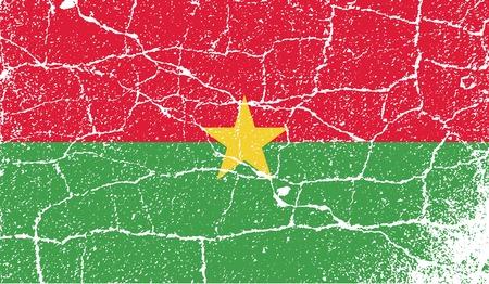 burkina faso: Flag of Burkina Faso with old texture. Vector illustration