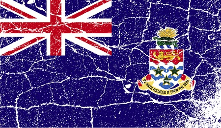 Flag of Cayman Islands with old texture. Vector illustration Vector