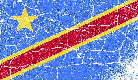 commonwealth: Flag of Congo Democratic Republic with old texture. Vector illustration Illustration