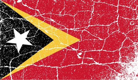 east: Flag of East Timor with old texture. Vector illustration Illustration