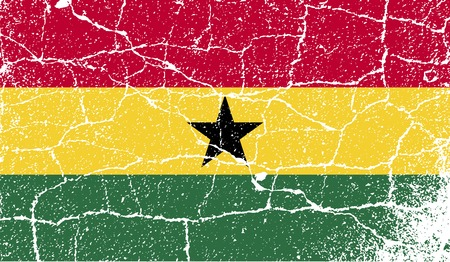 Flag of Ghana with old texture. Vector illustration Vector