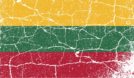 europe closeup: Flag of Lithuania with old texture. Vector illustration Illustration