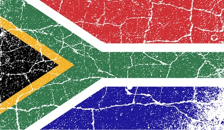 cape town: Flag of South Africa with old texture. Vector illustration Illustration