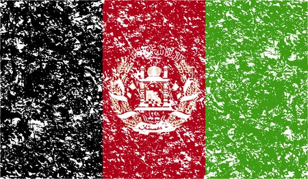 afghan: Flag of Afghanistan with old texture. Vector illustration