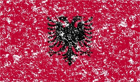 albanie: Drapeau de l'Albanie � l'ancienne la texture. Vector illustration Illustration