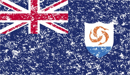 anguilla: Flag of Anguilla with old texture. Vector illustration