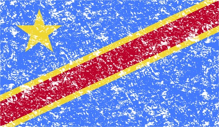 democratic: Flag of Congo Democratic Republic with old texture. Vector illustration Illustration