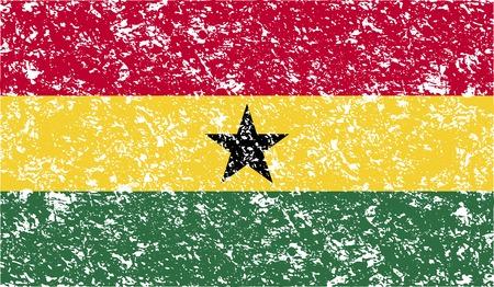 ghana: Drapeau du Ghana avec le vieux texture. Vector illustration