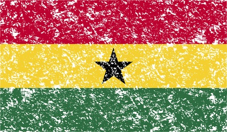 proportional: Flag of Ghana with old texture. Vector illustration Illustration