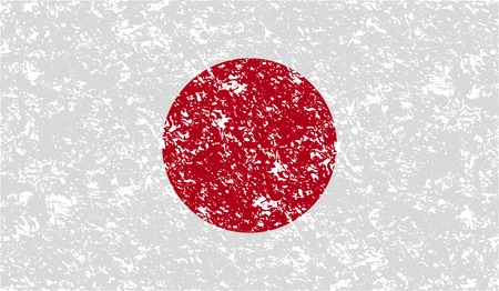 hinomaru: Flag of Japan with old texture. Vector illustration