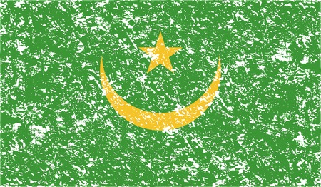 proportional: Flag of Mauritania with old texture. Vector illustration