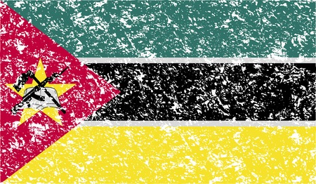 seal gun: Flag of Mozambique with old texture. Vector illustration Illustration