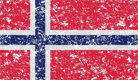 correctly: Flag of Norway with old texture. Vector illustration