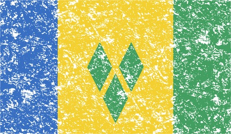 grenadines: Flag of Saint Vincent and The Grenadines with old texture. Vector illustration Illustration