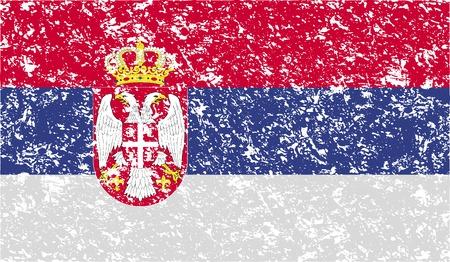 serbien: Flagge von Serbien mit alten Textur. Vektor-Illustration Illustration