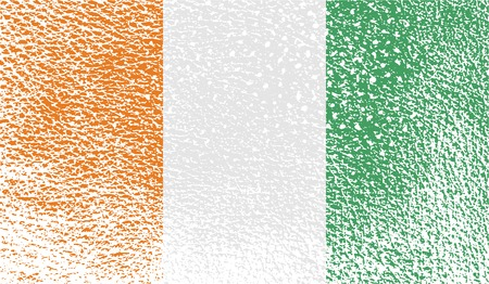 correctly: Flag of Cote divoire with old texture. Vector illustration