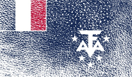 antarctic: Flag of French Southern and Antarctic Lands with old texture. Vector illustration Illustration