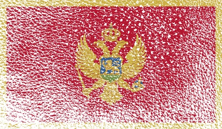 montenegro: Flag of Montenegro with old texture. Vector illustration