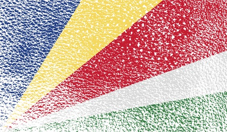 seychelles: Flag of Seychelles with old texture. Vector illustration