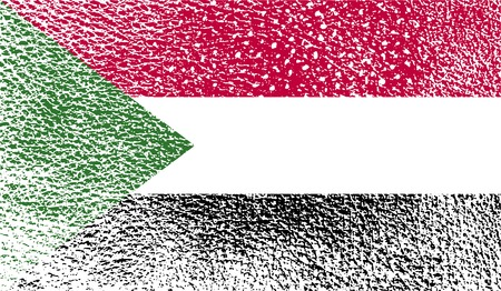 proportional: Flag of Sudan with old texture. Vector illustration