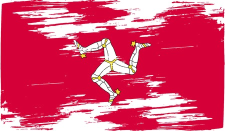 isle: Flag of Isle of man with old texture. Vector illustration