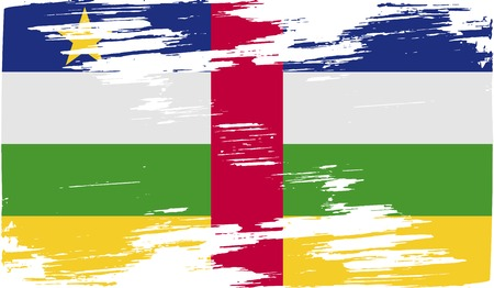 central african republic: Flag of Central African Republic with old texture. Vector illustration